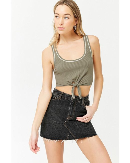 Forever 21 - Green Women's Tie-front Cropped Tank Top - Lyst