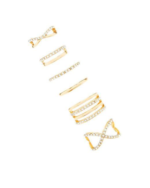 Forever 21 | Metallic Cutout Rhinestone Ring Set | Lyst