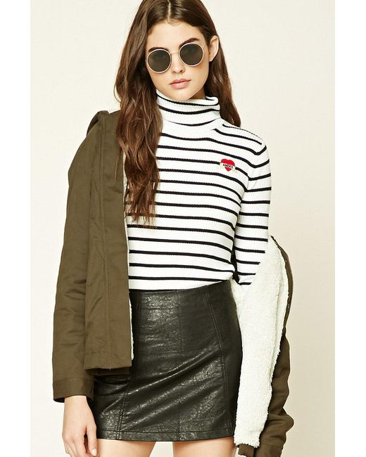 Forever 21 | Black Striped Amore Patch Jumper | Lyst