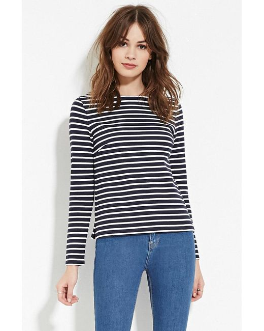 Forever 21   Blue Striped Wide-neck Top   Lyst