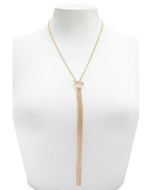 Forever 21 - Metallic Multi-strand Lariat Drop Necklace - Lyst