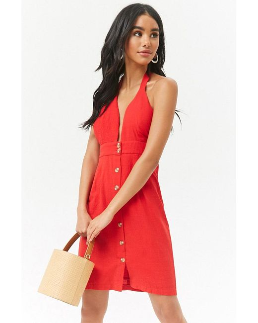 Forever 21 - Red Plunging Halter Button-front Mini Dress - Lyst