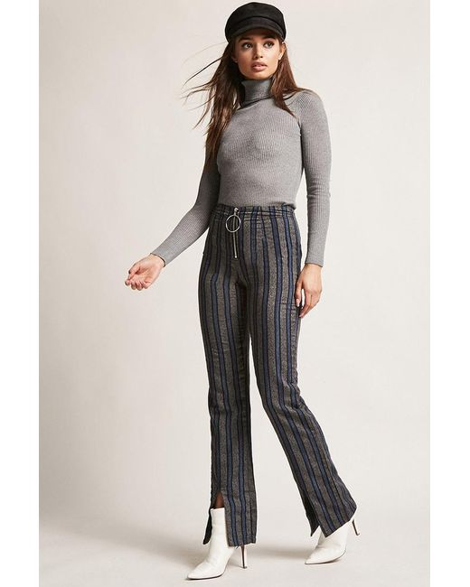 16d6b81f104851 Forever 21 - Blue Wide-leg Stripe Pants - Lyst ...