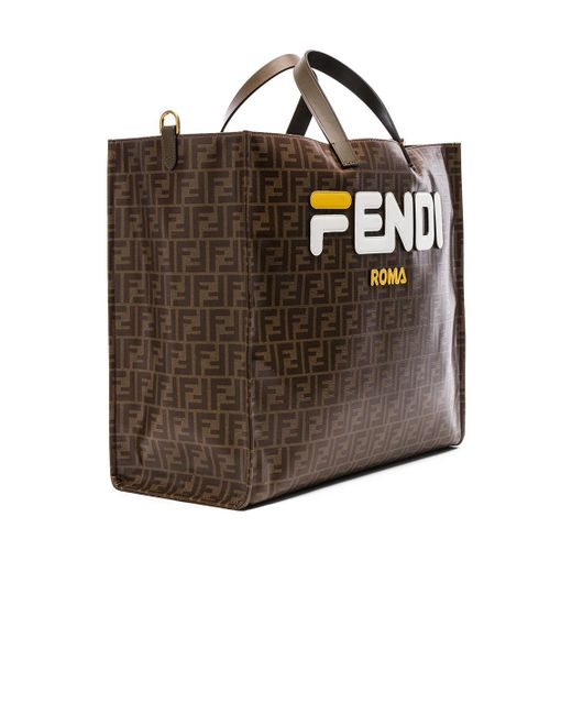 Lyst - Fendi Mania Brown And White Large Logo Print Tote Bag in ... 52c423ca80e2b