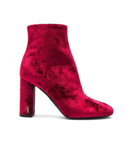 Saint Laurent - Red Velvet Loulou Pin Boots - Lyst
