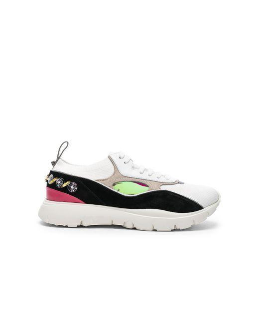 Valentino - White Heroes Her Embellished Heel Sneakers - Lyst