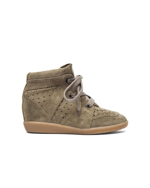 Isabel Marant - Gray Bobby Suede Wedge Sneakers - Lyst