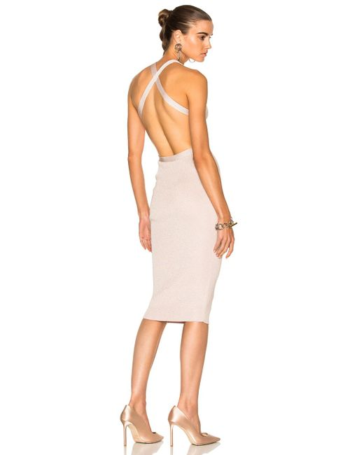 Cushnie et Ochs | Pink For Fwrd Knit Pencil Dress With Crisscross Straps | Lyst