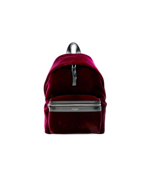 Saint Laurent | Red Mini Velvet City Backpack | Lyst