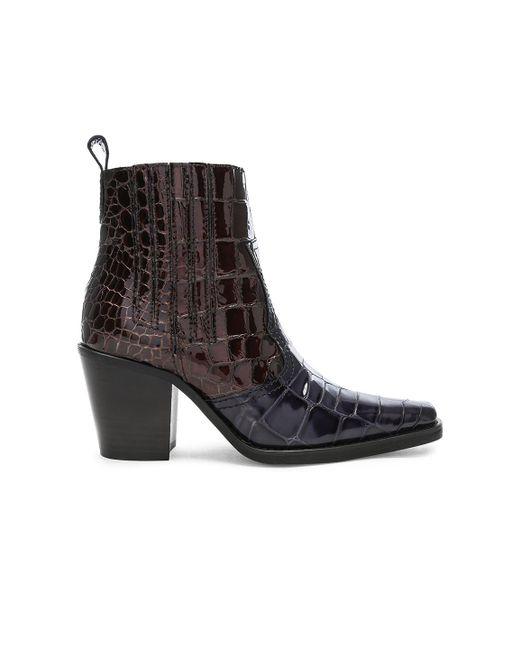 Ganni - Black Croc Embossed Callie Boots - Lyst