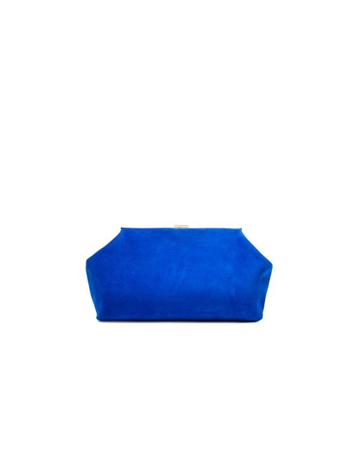 Mansur Gavriel - Blue Suede Volume Clutch - Lyst