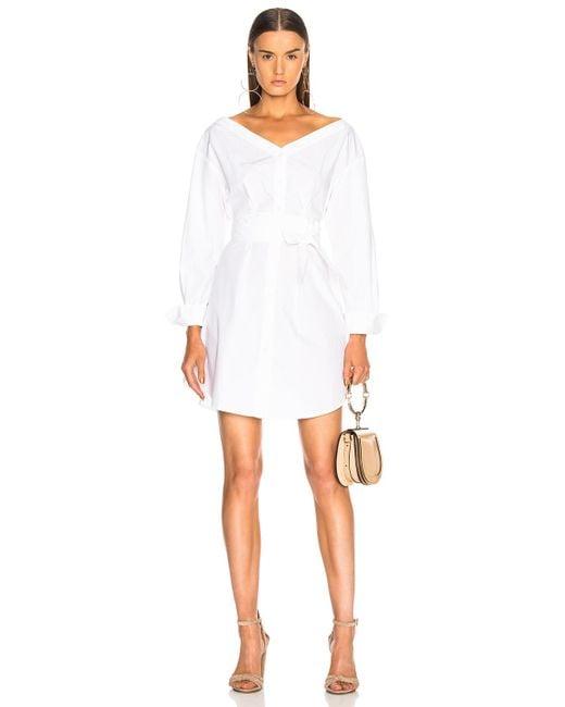 FRAME - White Belted Dress - Lyst