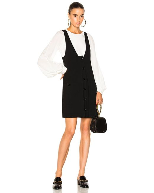 Chloé | Black Wool Crepe Button Front Dress | Lyst