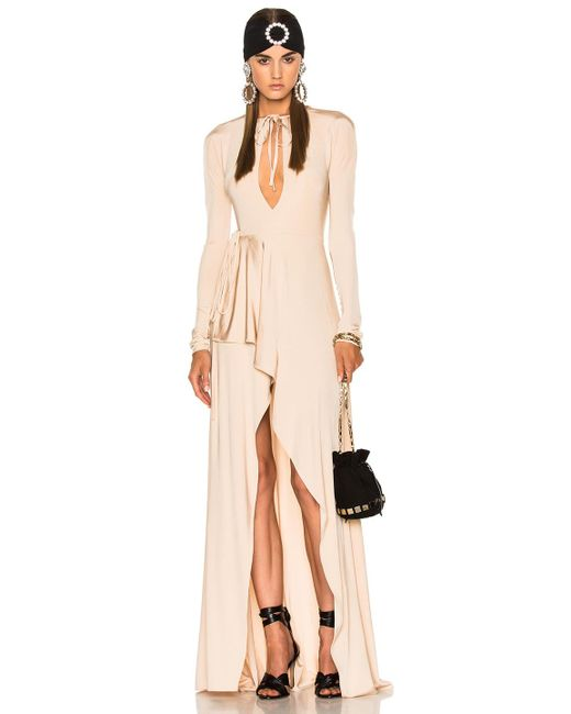 Alessandra Rich | Natural Jersey Asymmetrical Gown | Lyst