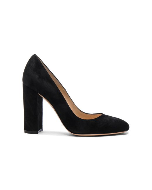 Gianvito Rossi | Black Suede Chunky Heels | Lyst