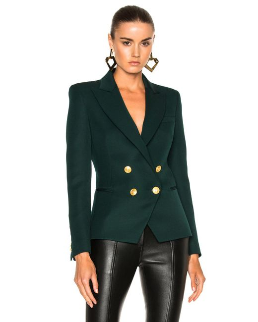 Balmain | Green Double Breasted Blazer | Lyst