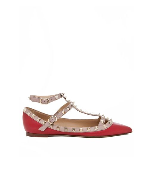 Valentino | Red Rockstud Leather Cage Flats | Lyst