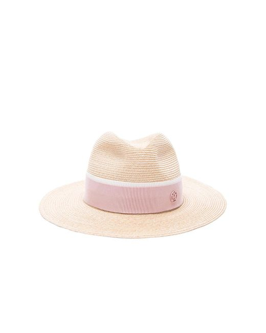 Maison Michel - Pink Henrietta Timeless Straw Hat With Thin Canapa - Lyst  ... 5b913b537543