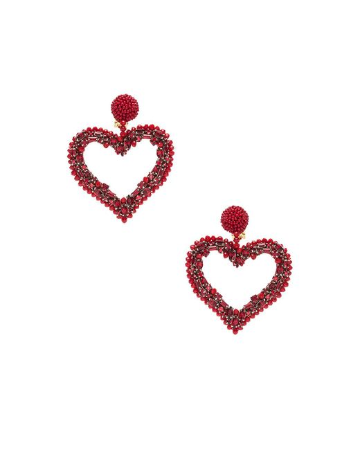 Oscar de la Renta - Red Jeweled Heart Earrings - Lyst
