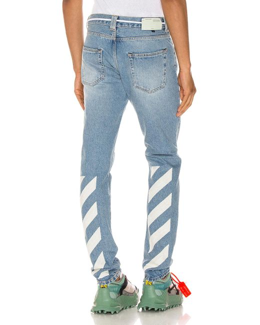 Off-White c/o Virgil Abloh Blue Diagonal Stripe Slim Jeans for men
