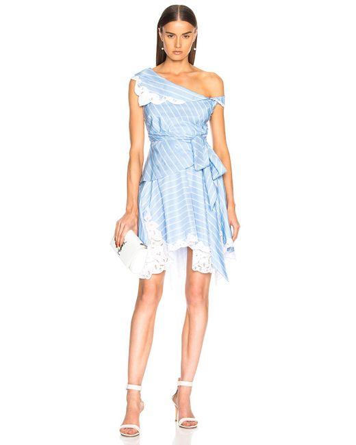 Jonathan Simkhai - Blue Scallop Mini Wrap Dress - Lyst