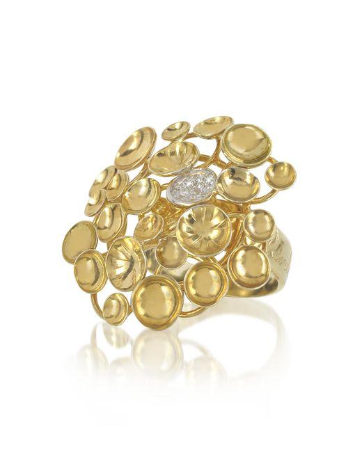 Orlando Orlandini - Metallic 18k Yellow Gold Large Bouquet Ring W/diamond - Lyst