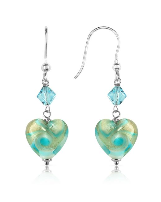House of Murano   Blue Vortice - Turquoise Swirling Murano Glass Heart Earrings   Lyst