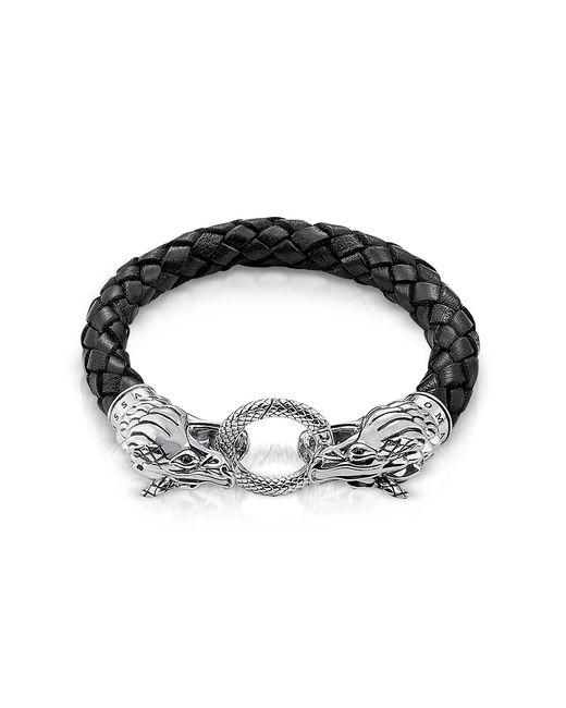 Thomas Sabo - Dragon Blackened Sterling Silver & Leather Men's Bracelet for Men - Lyst