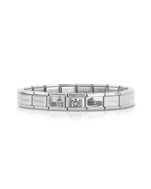 Nomination - Metallic Classic Italia Stearling Silver And Stainless Steel Bracelet W/cubic Zirconia Italian Flag for Men - Lyst