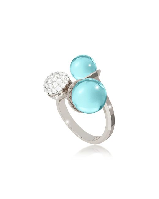 Rebecca - Blue Boulevard Stone Rhodium Over Bronze Ring W/hydrothermal Turquoise Stones And Cubic Zirconia - Lyst