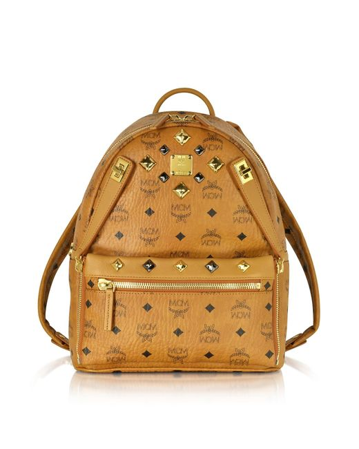 MCM | Multicolor Cognac Small Dual Stark Backpack | Lyst