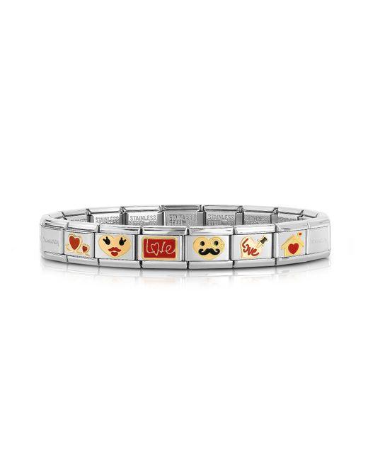 Nomination - Metallic Stainless Steel Bracelet W/golden Love Emoticons for Men - Lyst