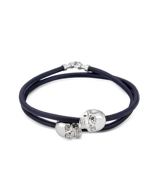 Northskull | Navy Blue Leather W/rhodium Skull Double Wrap Bracelet | Lyst