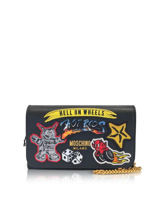 Moschino - Black Leather Wallet Clutch W/patches - Lyst