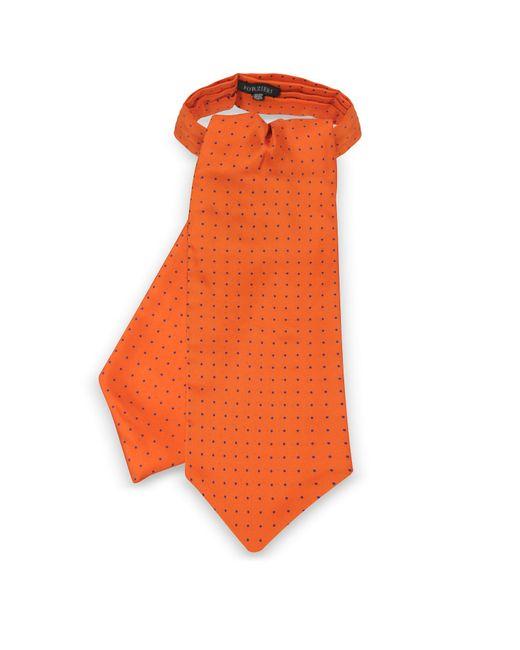 Forzieri - Orange Polkadots Print Silk Tie Ascot for Men - Lyst