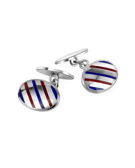 Forzieri - Metallic Oval Striped Sterling Silver Double Sided Cufflinks for Men - Lyst