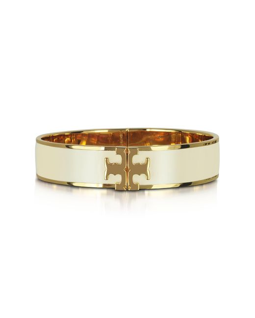 Tory Burch - White Raised Logo New Ivory Enamel Thin Cuff Bracelet - Lyst