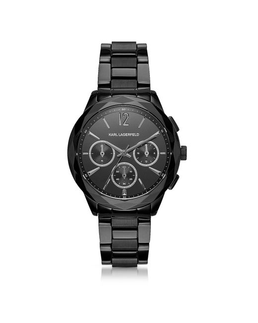 Karl Lagerfeld | Optik Black Stainless Steel Women's Chronograph Watch | Lyst
