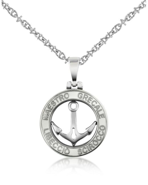 Forzieri Metallic Stainless Steel Anchor Pendant Necklace for men