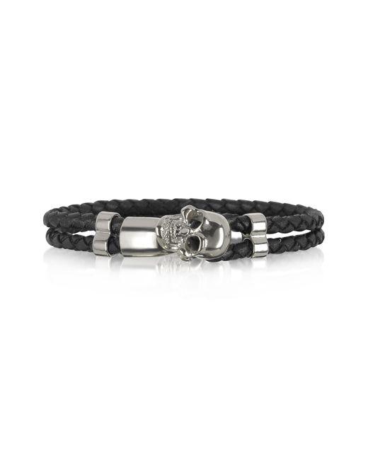 Forzieri | Metallic Skull Silver Tone Brass And Leather Men's Bracelet for Men | Lyst