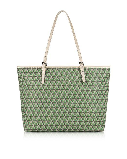 Lancaster Paris - Green Ikon Large Coated Canvas Tote Bag - Lyst