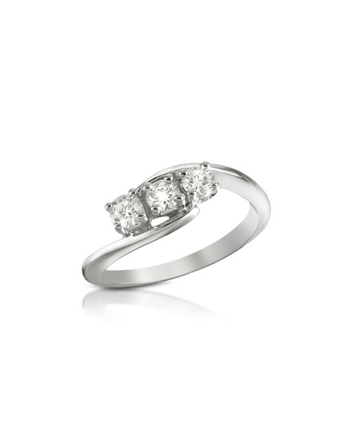 Forzieri - Metallic 0.315 Ct Three-stone Diamond 18k Gold Ring - Lyst