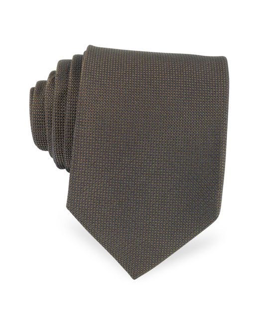 Forzieri   Brown Solid Woven Silk Tie for Men   Lyst