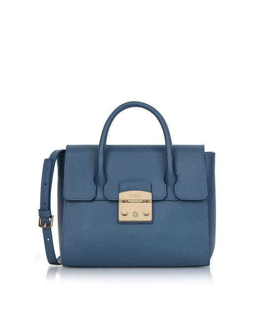 Furla   Blue Avio Grained Leather Metropolis Small Satchel Bag   Lyst