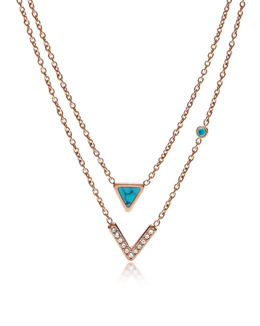 Fossil - Metallic Turquoise Double Strand Convertible Women's Necklace - Lyst