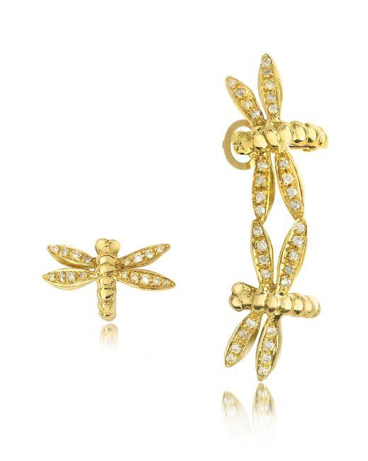 Bernard Delettrez - Multicolor Dragonflies 18k Gold Earrings W/diamonds - Lyst