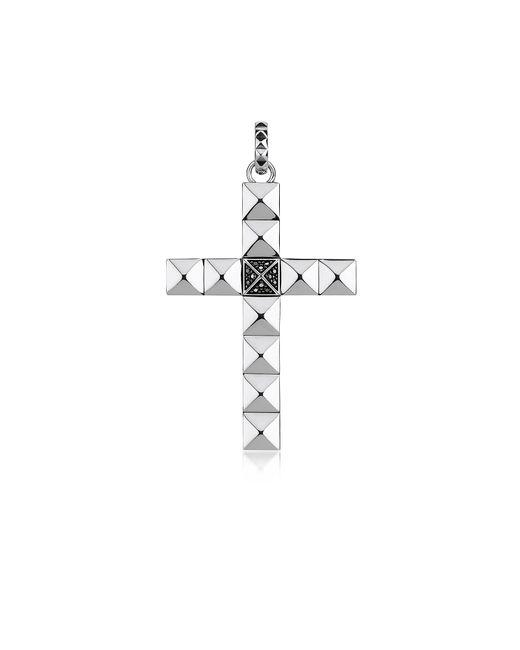 Thomas Sabo - Metallic Blackened Sterling Studded Cross Pendant W/black Zirconia - Lyst