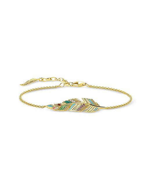 Thomas Sabo - Metallic Gold Plated Sterling Silver Enamel And Glass-ceramic Stones Feather Bracelet - Lyst