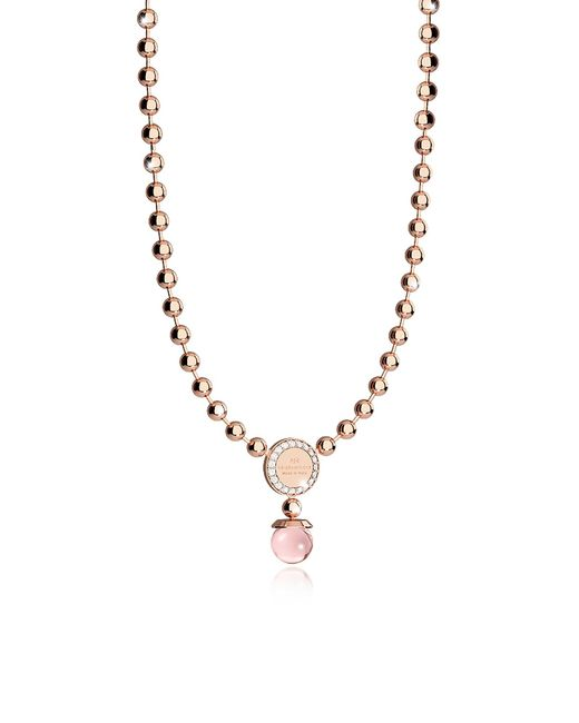 Rebecca - Boulevard Stone Rose Gold Over Bronze Necklace W/hydrothermal Pink Stones - Lyst