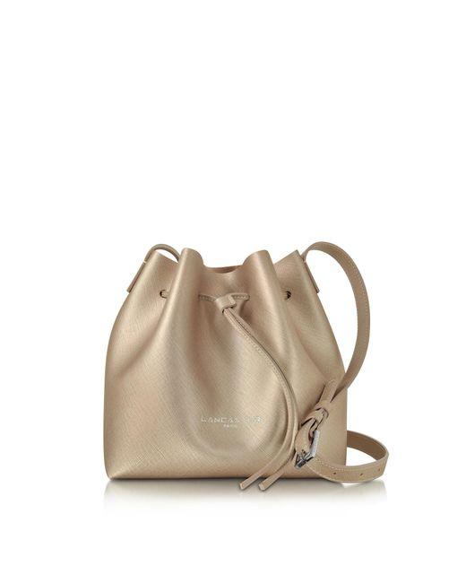 Lancaster Paris - Pink Pur & Element Champagne Saffiano Leather Mini Bucket Bag - Lyst